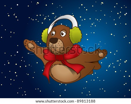 Flying Bear with Starry Sky Background - stock vector