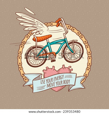 flying bicycle, cartoon doodle style vector illustration - stock vector