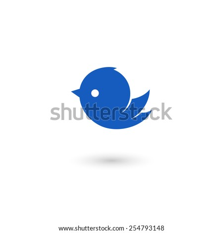 Flying bird icon. Isolated on white background. Vector illustration, eps 10. - stock vector