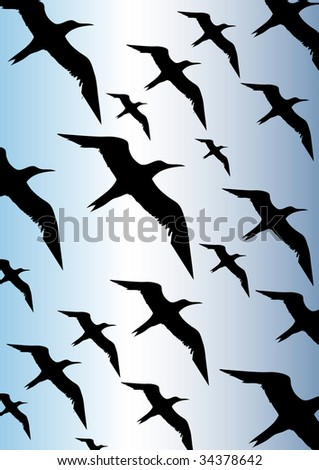 flying bird on a blue sky - stock vector