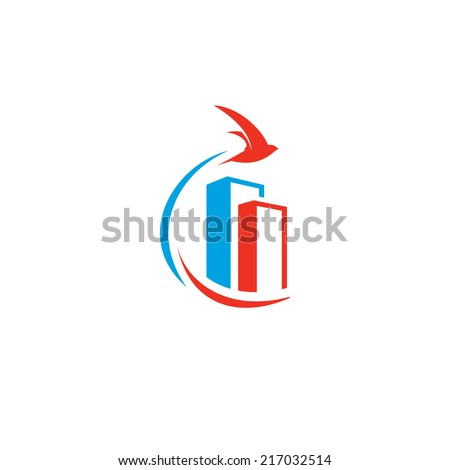 Flying bird over the city Branding Identity Corporate vector logo design template Isolated on a white background - stock vector