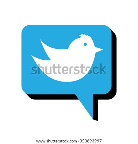flying bird vector chat or talk button icon for websites and mobile apps