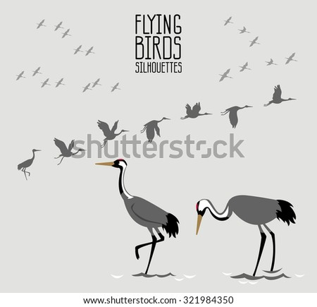 Flying birds: collection of crane silhouettes.
