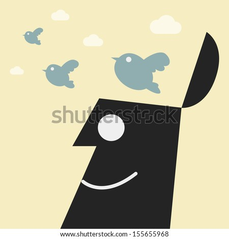 Flying birds out of a head. freedom concept - stock vector