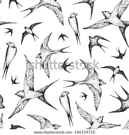 flying birds seamless pattern - stock vector