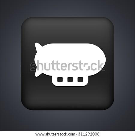 Flying Blimp on Black Square Button - stock vector