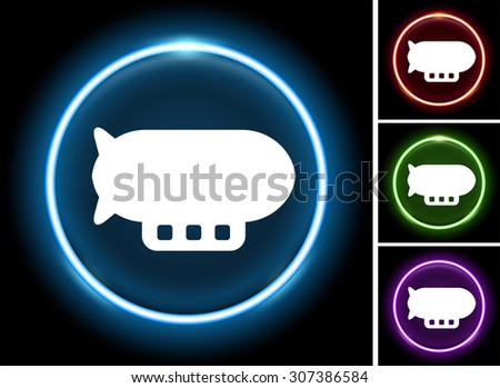 Flying Blimp on Glow Round Button - stock vector