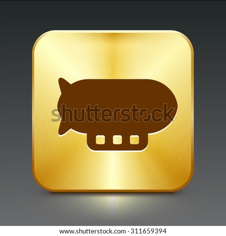 Flying Blimp on Gold Square Button - stock vector