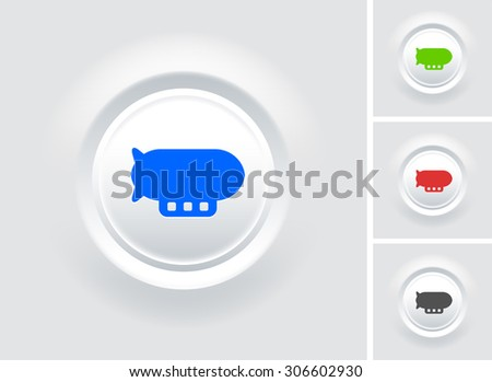 Flying Blimp on White Bevel Round Button - stock vector