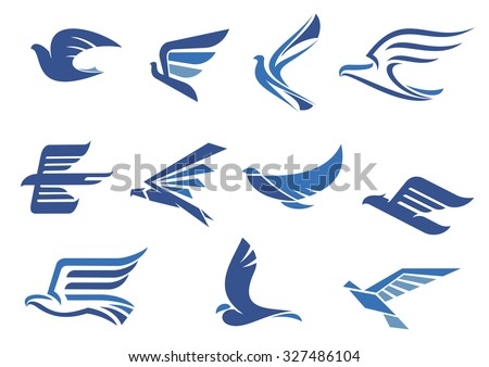 Flying blue birds as eagle, hawk, falcon and dove in flight. For business, delivery, transportation or travel design - stock vector