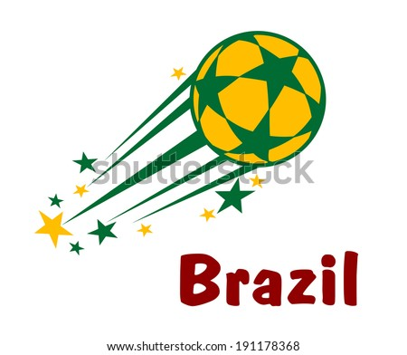 Flying brazil soccer or football ball logo with stars in green and yellow colors - stock vector