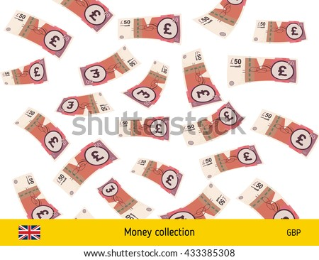 Flying British pound banknote. Money rain. Falling pound - stock vector