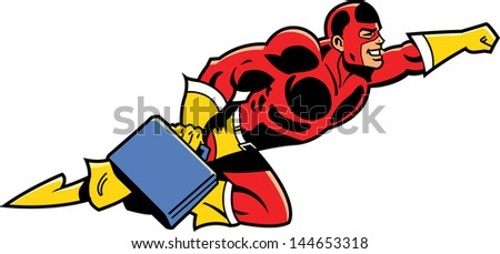 Flying Business Superhero With Briefcase - stock vector
