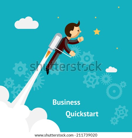 Flying Businessman Cartoon Graphic Design for Business Growth and Start up  Isolated on Blue Green Background. - stock vector