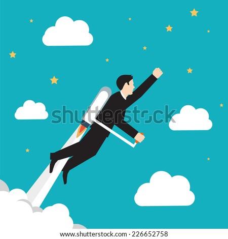 Flying Businessman on blue green gackground - stock vector