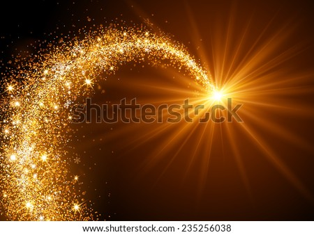 Flying Christmas Star with snowflakes and bright light - stock vector