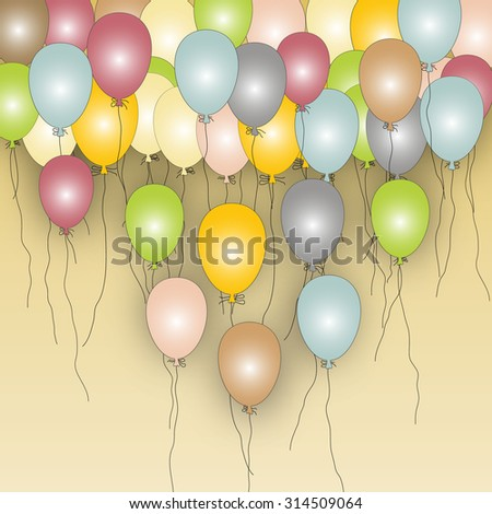 Flying color balloons on yellow light background