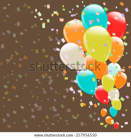 flying colorful balloons as retro background - stock vector