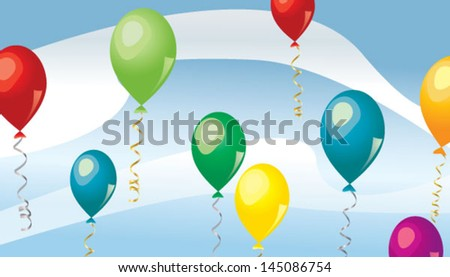 Flying colorful balloons over blue background - stock vector