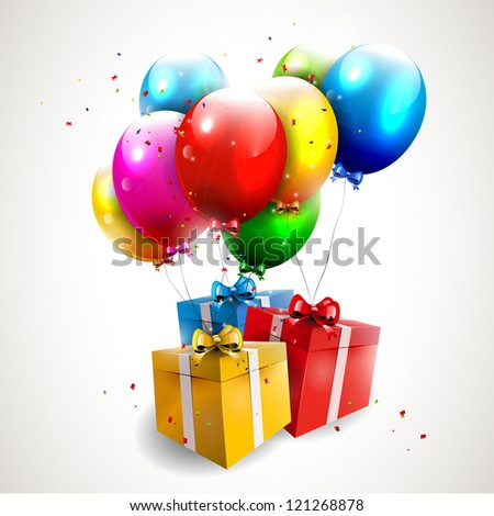 Flying colorful balloons with gifts - stock vector