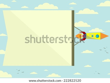 Flying Cosmic Rocket with the horizontal Position of the Banner, Color Sky on Background. Vector Illustrations - stock vector
