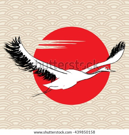 Flying cranes on background sun - stock vector