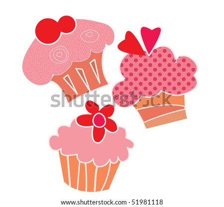 flying cupcakes - stock vector