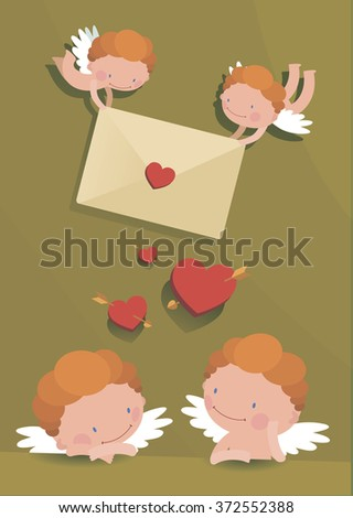 flying cupids with a romantic message in the hands in a flat style - stock vector