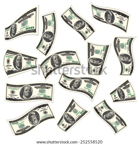 Flying dollars banknotes isolated on white. Vector illustration - stock vector