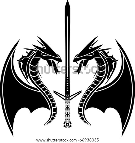 flying dragons and sword. vector illustration
