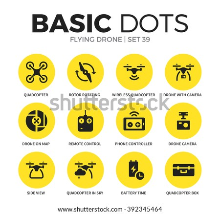 Flying drone flat icons set with quadcopter form, battery time and drone camera form isolated vector illustration on white - stock vector