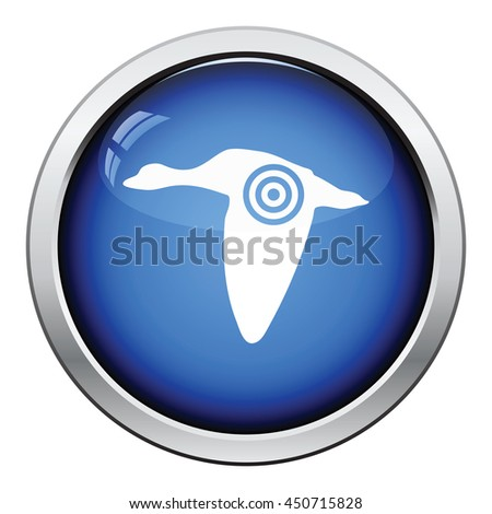 Flying duck  silhouette with target  icon. Glossy button design. Vector illustration. - stock vector