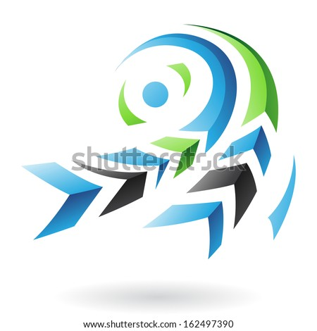Flying Dynamic Abstract Arrows Icon - stock vector