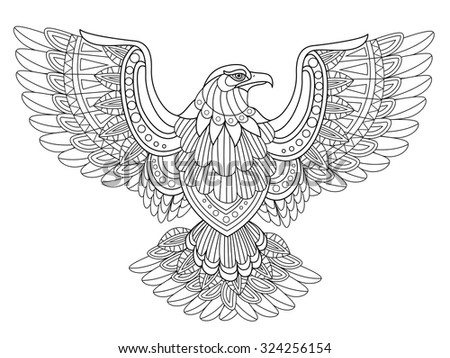 flying eagle coloring page in exquisite style - stock vector