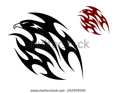 Flying eagle, hawk or falcon bird in tribal style for tattoo design - stock vector