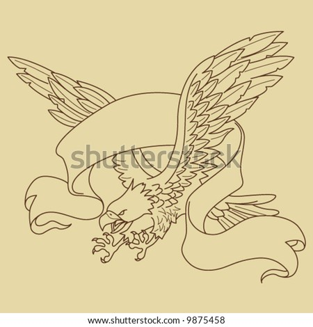 Flying Eagle with Banner - stock vector