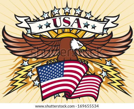 Flying eagle with USA flag (Eagle holding flag of United States) - stock vector