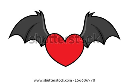 flying evil heart with bat wings - Halloween vector illustration - stock vector