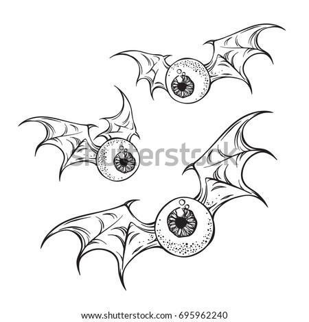 Flying Eyeballs Creepy Demon Wings Black Stock Vector 695962240 ...