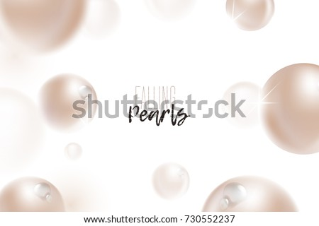Flying (falling) beige, natural pearls with dew water drops, sparkles, shine, glow, reflection and blur effect on white background. Luxury jewelry pattern, beautiful pearls. Vector illustration