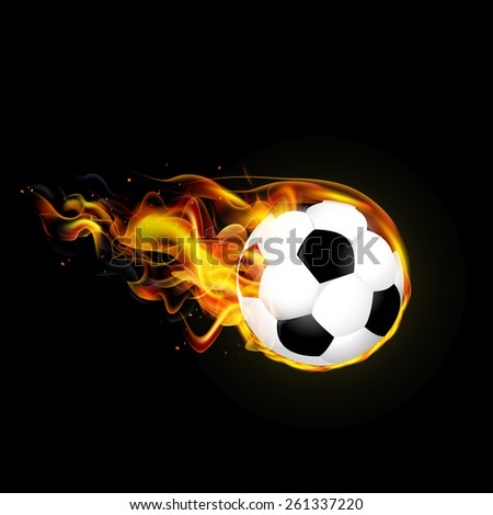 Flying fiery ball on black background vector illustration - stock vector