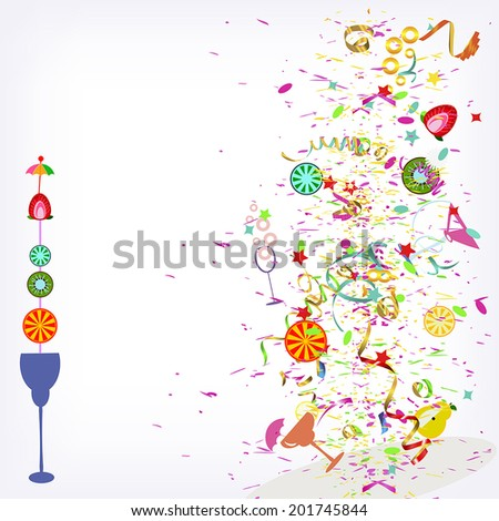 flying fruit cocktails and confetti vector background - stock vector