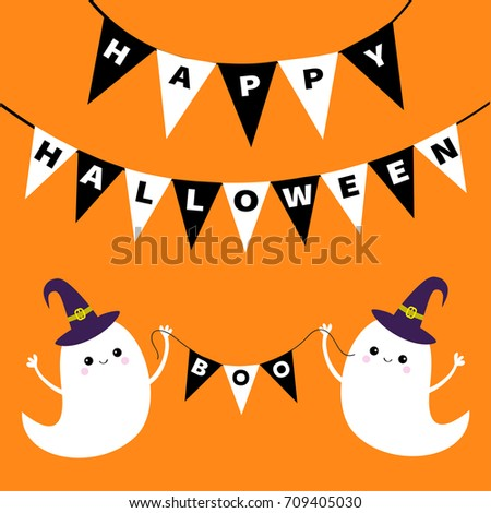 Flying Ghost Spirit Holding Bunting Flag Boo. Happy Halloween. Two Scary  White Ghosts.