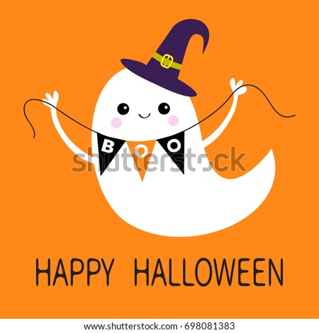 Flying Ghost Spirit Holding Bunting Flag Boo. Witch Hat. Happy Halloween.  Scary White