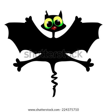 Flying Halloween  cat - stock vector