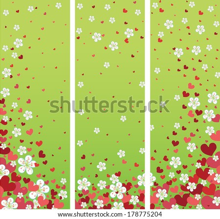 Flying hearts and spring flowers.Vector illustration - stock vector
