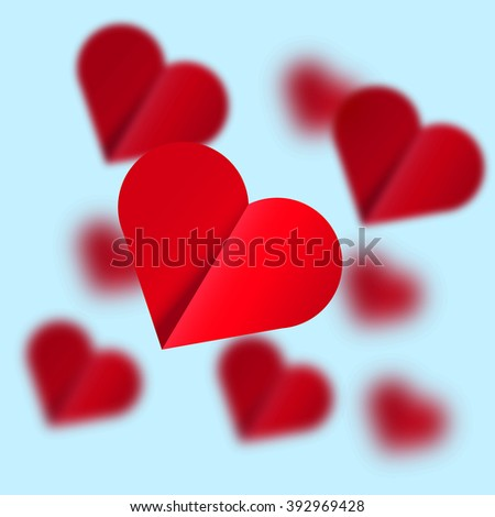 Flying hearts - Illustration. Background image. Good for design of cards and posters.