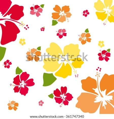 flying hibiscus - stock vector