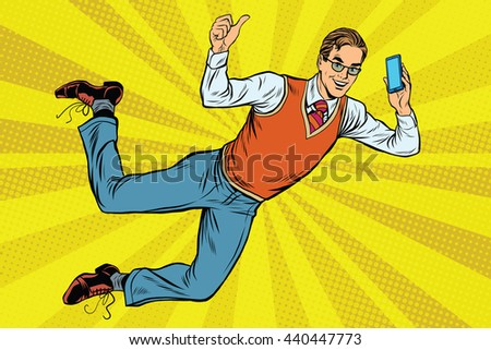 Flying hipster with a smartphone pop art retro vector. New technology. Retro businessman
