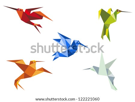 Flying hummingbirds in origami paper style on white background, such a logo template. Jpeg version also available in gallery - stock vector